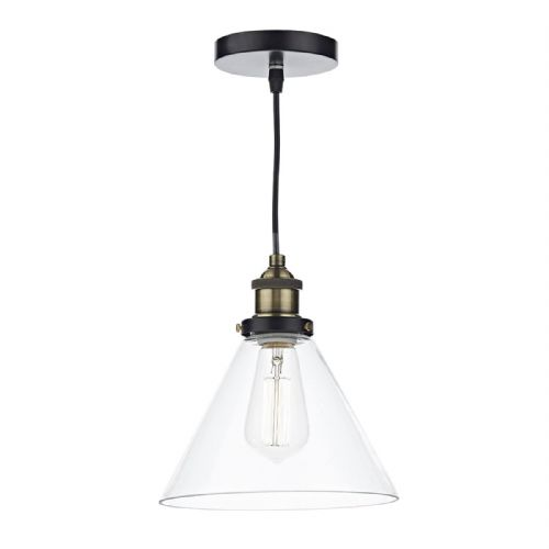 Ray 1 Light Pendant Antique Brass Clear (Class 2 Double Insulated) BXRAY0175-17